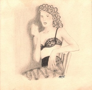Sensualit+á 1993 matita su cartoncino 12 x 12